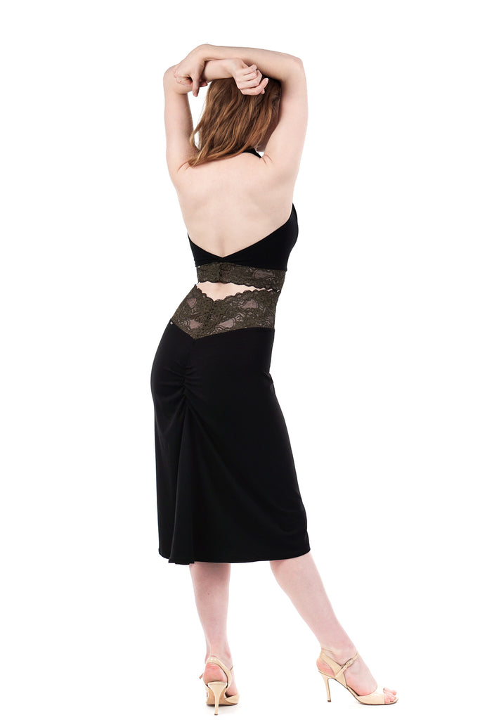 green french lace high-waist ruched skirt - Poema Tango Clothes: handmade luxury clothing for Argentine tango