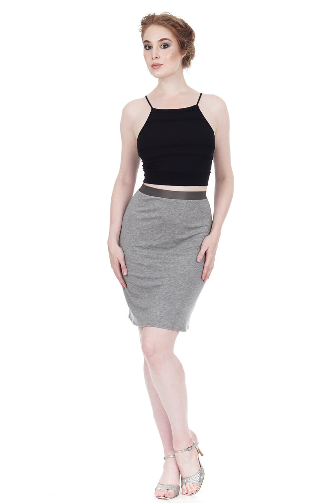 grey marl pencil skirt - Poema Tango Clothes: handmade luxury clothing for Argentine tango