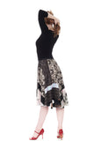 greyscale butterfly skirt - Poema Tango Clothes: handmade luxury clothing for Argentine tango