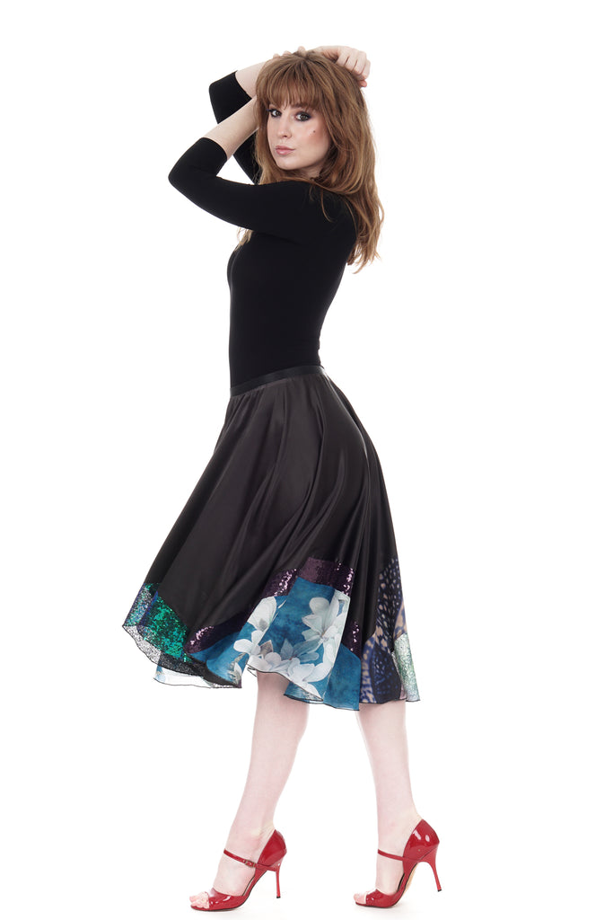 gunmetal silk & blossoms skirt - Poema Tango Clothes: handmade luxury clothing for Argentine tango