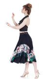 holiday hummingbirds silk skirt - Poema Tango Clothes: handmade luxury clothing for Argentine tango