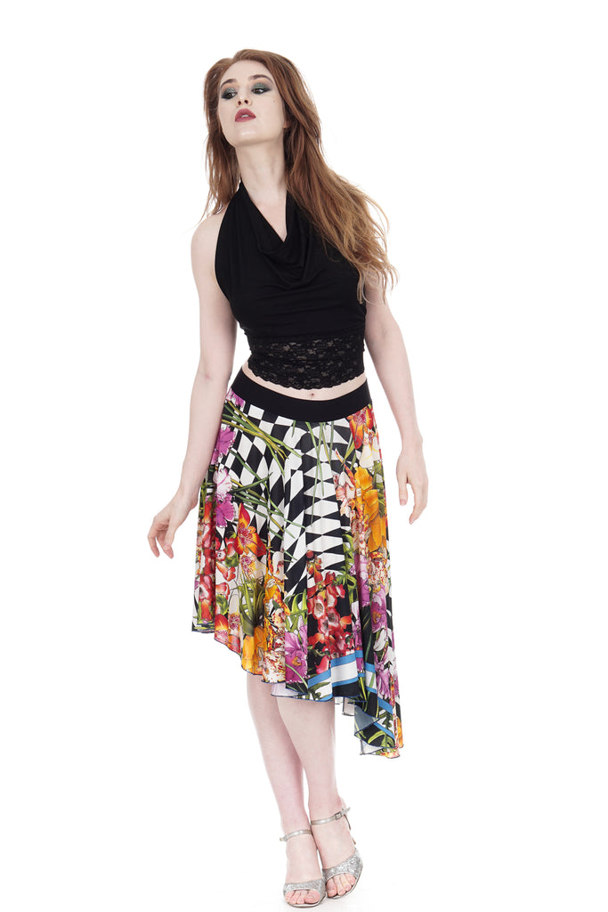 hothouse flower circle skirt - Poema Tango Clothes: handmade luxury clothing for Argentine tango