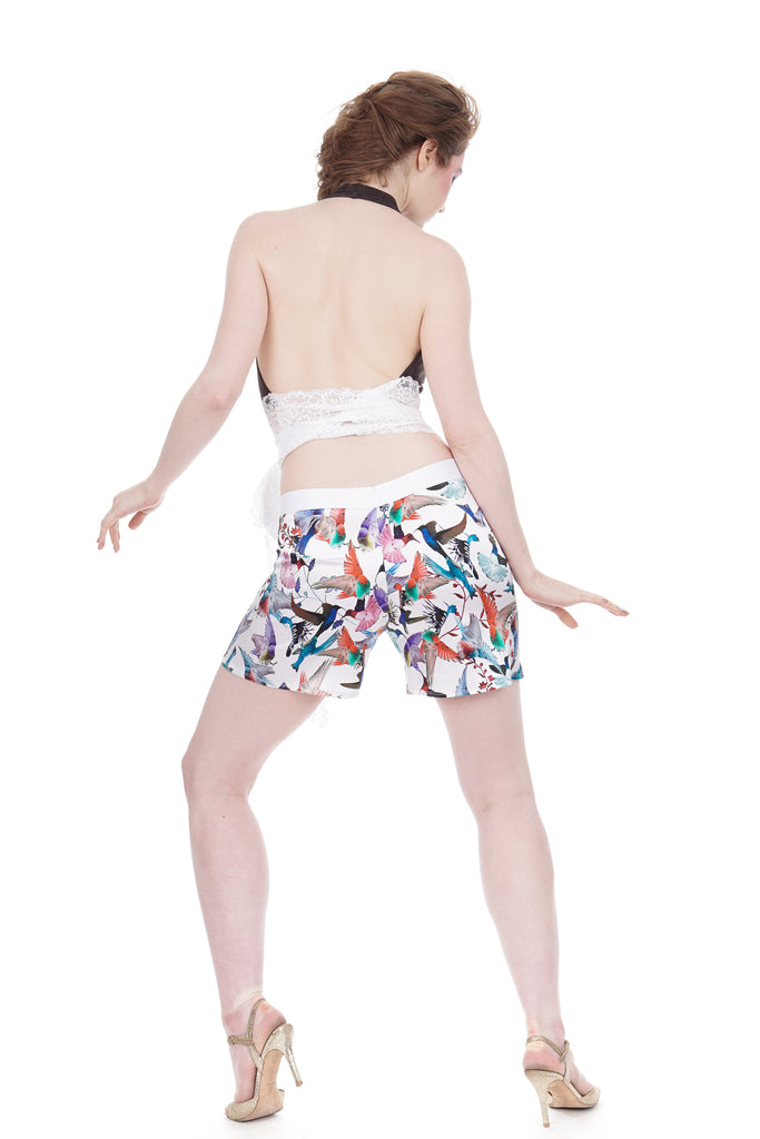 hummingbird silk tap shorts - Poema Tango Clothes: handmade luxury clothing for Argentine tango
