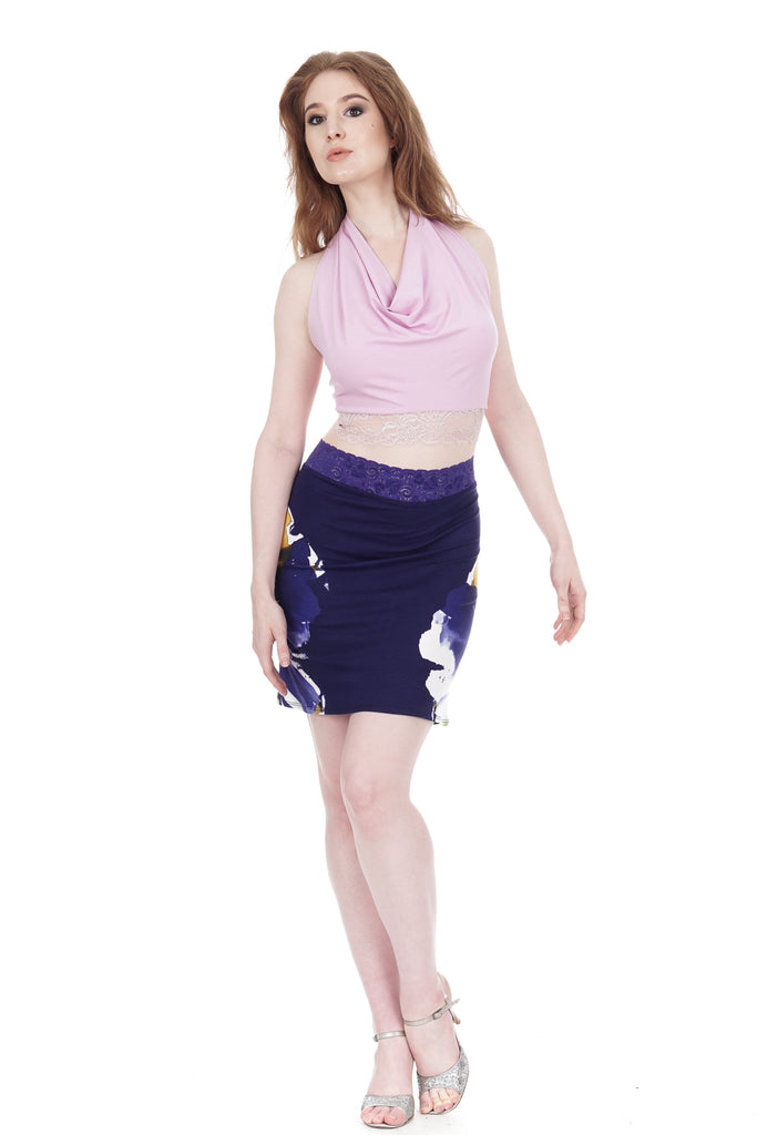 indigo iris fluted skirt - Poema Tango Clothes: handmade luxury clothing for Argentine tango