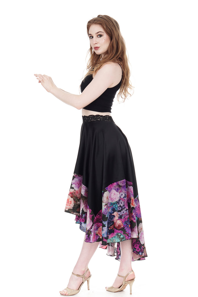 ink & italian bouquet silk skirt - Poema Tango Clothes: handmade luxury clothing for Argentine tango