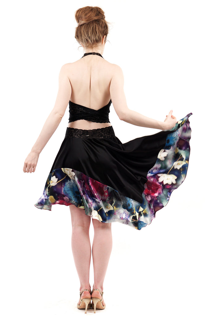 ink & lotus skirt - Poema Tango Clothes: handmade luxury clothing for Argentine tango