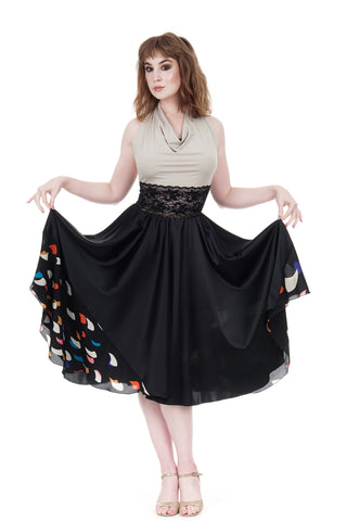 ink & starships silk skirt - CLEARANCE