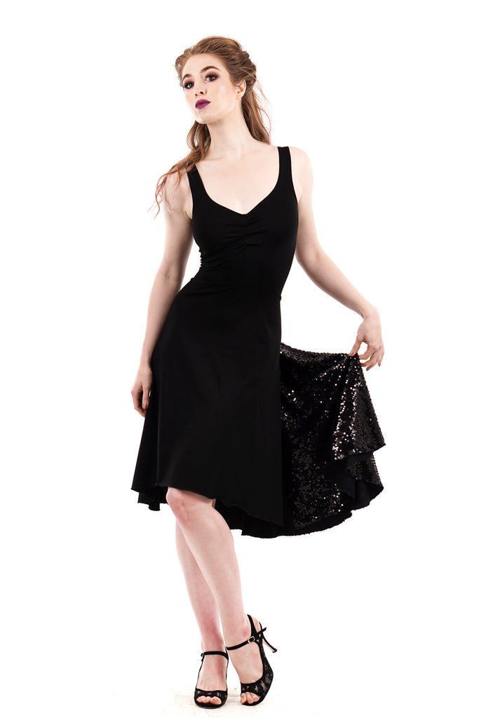ink and sequins tank dress - Poema Tango Clothes: handmade luxury clothing for Argentine tango