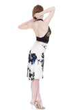 ink brushed blooms fluted skirt - Poema Tango Clothes: handmade luxury clothing for Argentine tango
