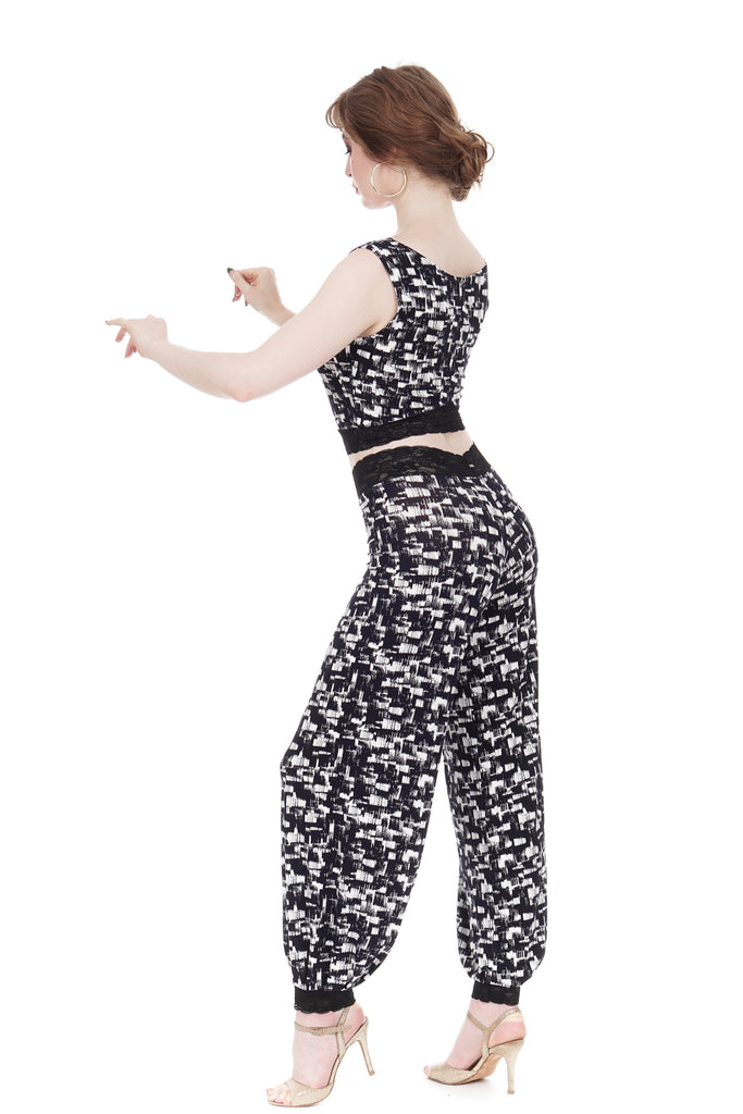 ink brushed tango trousers - Poema Tango Clothes: handmade luxury clothing for Argentine tango