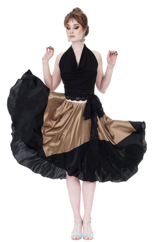 ink-dipped gold silk skirt