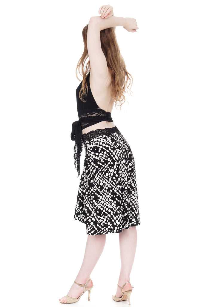 ink graphic draped & ruched skirt - Poema Tango Clothes: handmade luxury clothing for Argentine tango