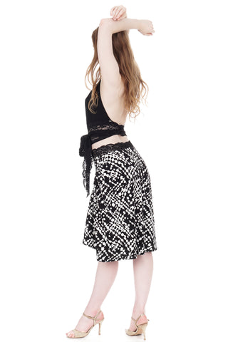 ink graphic draped & ruched skirt