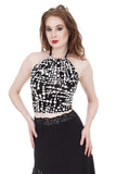 ink graphic halter - Poema Tango Clothes: handmade luxury clothing for Argentine tango