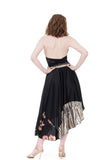 ink silk & deco velvet asymmetric skirt - Poema Tango Clothes: handmade luxury clothing for Argentine tango
