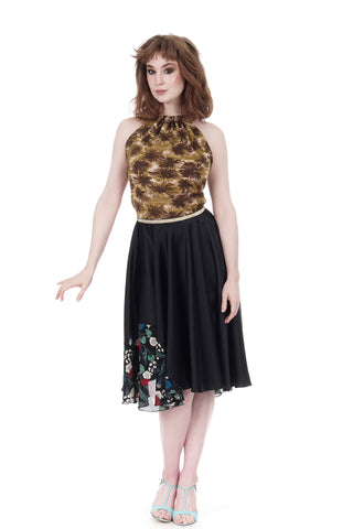 ink silk & firulete crepe skirt - CLEARANCE