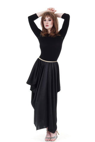 ink silk column skirt - CLEARANCE