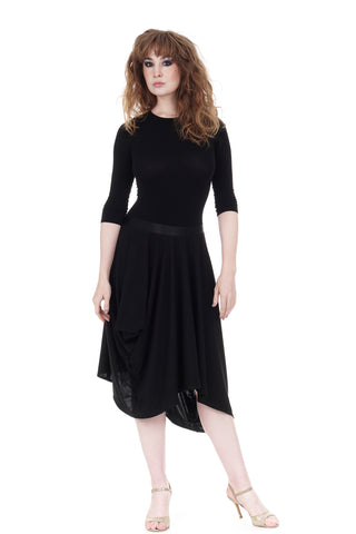ink silk jersey bustled skirt
