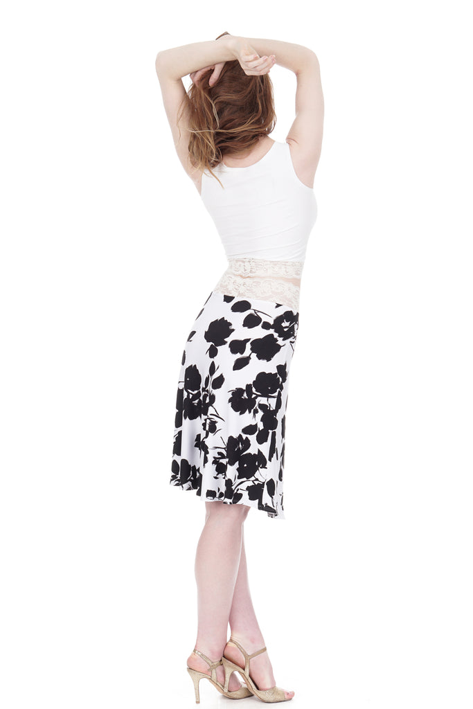 ink stroke blooms flared skirt - Poema Tango Clothes: handmade luxury clothing for Argentine tango