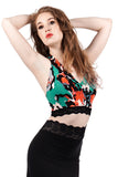 inksplash floral halter crop - Poema Tango Clothes: handmade luxury clothing for Argentine tango
