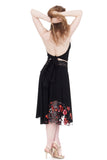 inky & embroidery circle skirt - Poema Tango Clothes: handmade luxury clothing for Argentine tango
