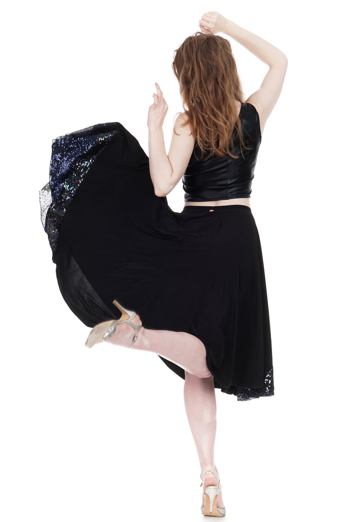 inky & oil spill sequin circle skirt - Poema Tango Clothes: handmade luxury clothing for Argentine tango