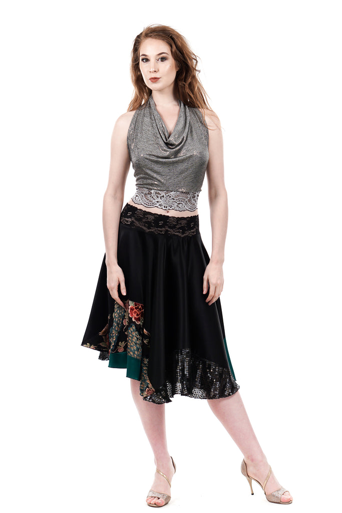 inky & peacocks burnout silk circle skirt - Poema Tango Clothes: handmade luxury clothing for Argentine tango