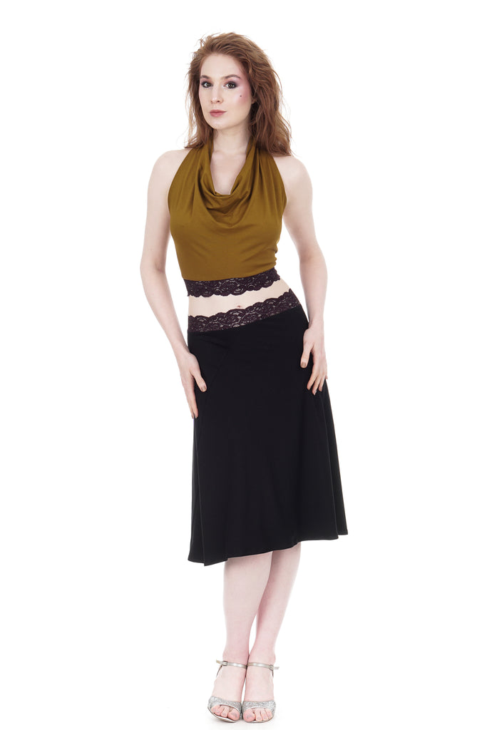 inky & plum lace flared skirt - Poema Tango Clothes: handmade luxury clothing for Argentine tango