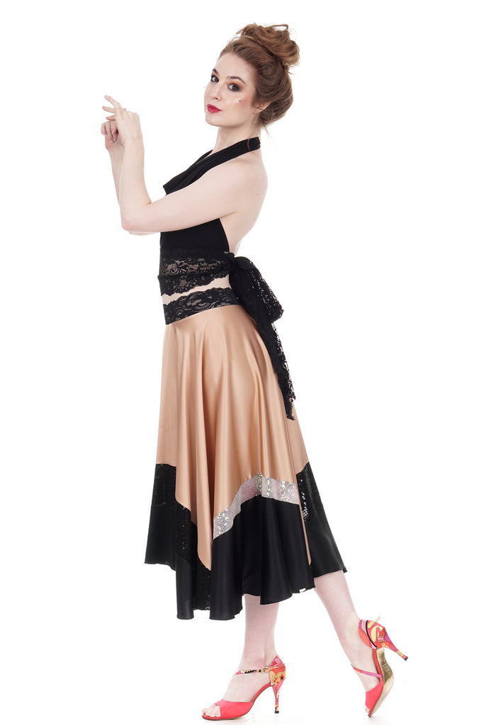 inky & sequin-dipped blush silk skirt - Poema Tango Clothes: handmade luxury clothing for Argentine tango