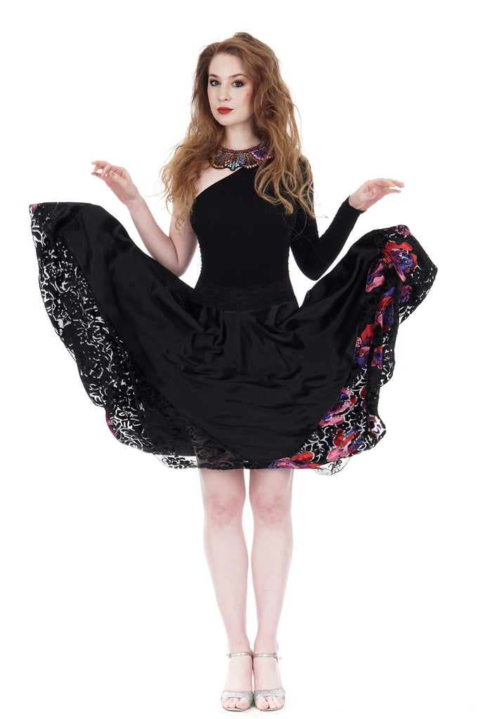 inky & stained glass roses silk skirt - Poema Tango Clothes: handmade luxury clothing for Argentine tango