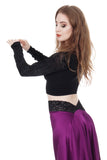 inky and black rose ruched sleeve top - Poema Tango Clothes: handmade luxury clothing for Argentine tango