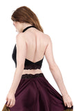 inky and plum lace signature halter - Poema Tango Clothes: handmade luxury clothing for Argentine tango