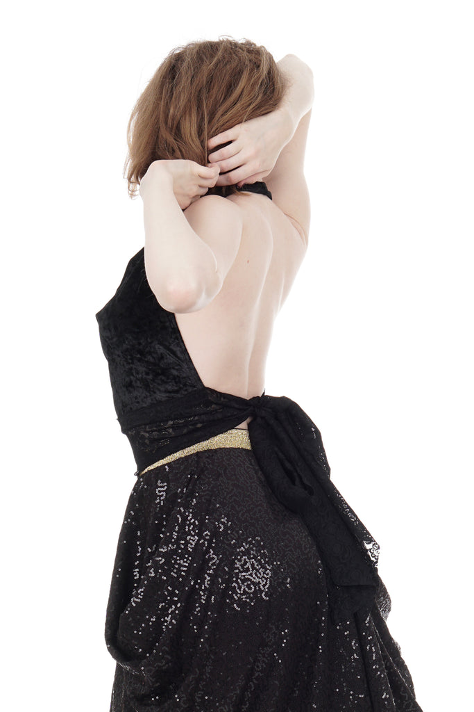 inky crushed velvet wrap top - Poema Tango Clothes: handmade luxury clothing for Argentine tango