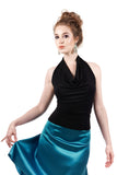 inky draped halter - Poema Tango Clothes: handmade luxury clothing for Argentine tango