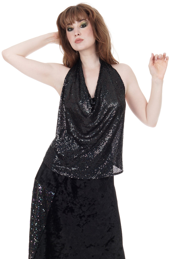 inky iridescent sequin draped halter - Poema Tango Clothes: handmade luxury clothing for Argentine tango
