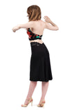 inky modal fluted skirt - Poema Tango Clothes: handmade luxury clothing for Argentine tango