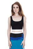 inky rib knit black & white crop - Poema Tango Clothes: handmade luxury clothing for Argentine tango