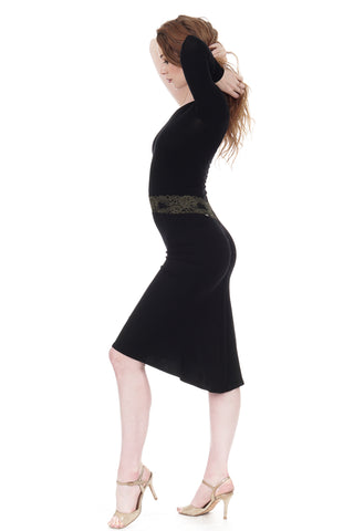 inky rib knit ruched skirt