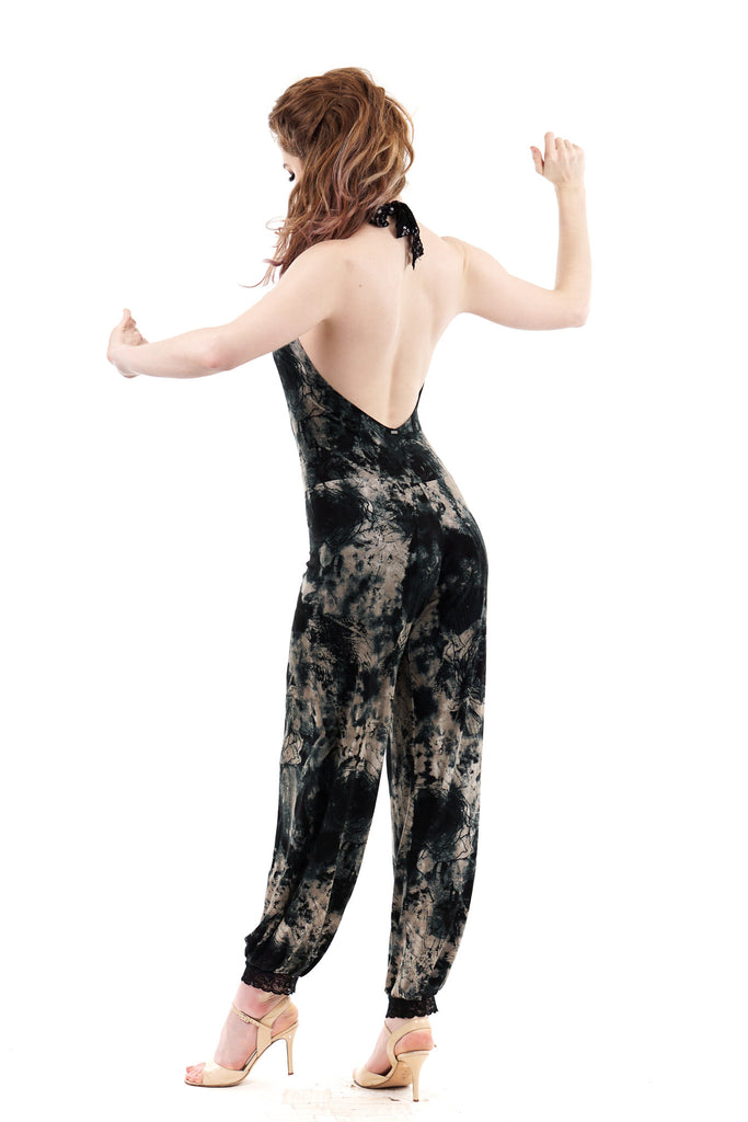 inky roses romper - Poema Tango Clothes: handmade luxury clothing for Argentine tango