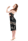 inky roses ruched skirt - Poema Tango Clothes: handmade luxury clothing for Argentine tango