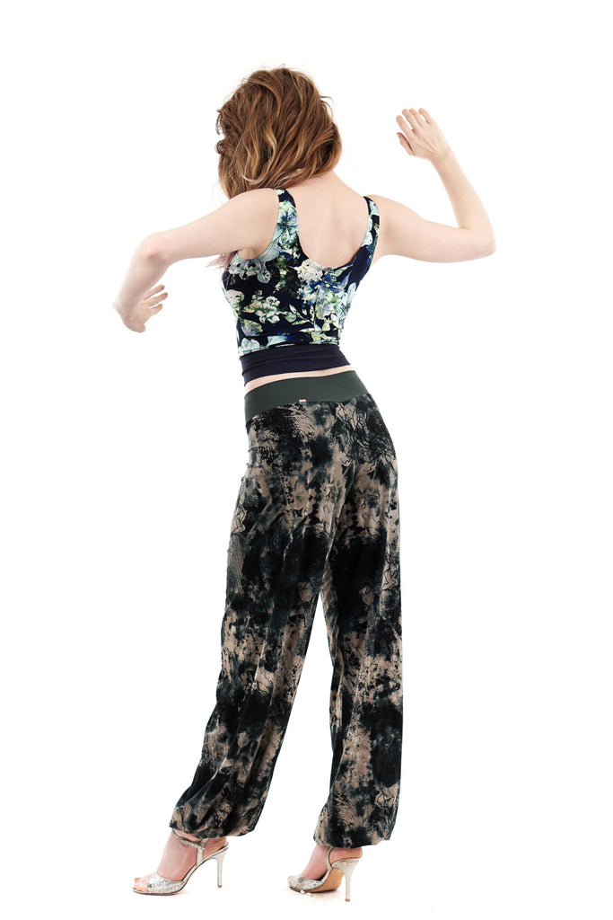 inky roses tango trousers - Poema Tango Clothes: handmade luxury clothing for Argentine tango