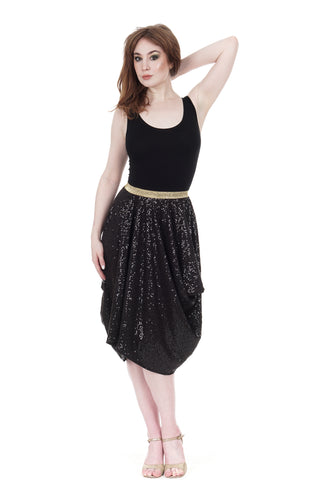 inky sequin bustled dress