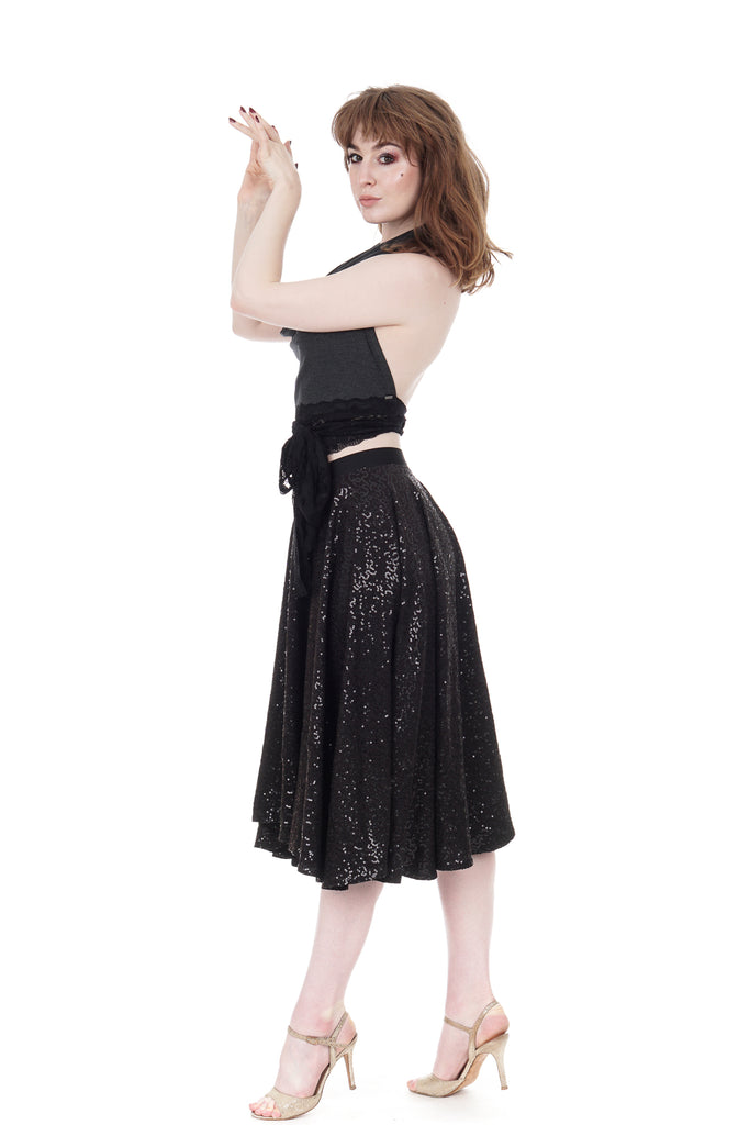 inky sequin dance skirt - Poema Tango Clothes: handmade luxury clothing for Argentine tango