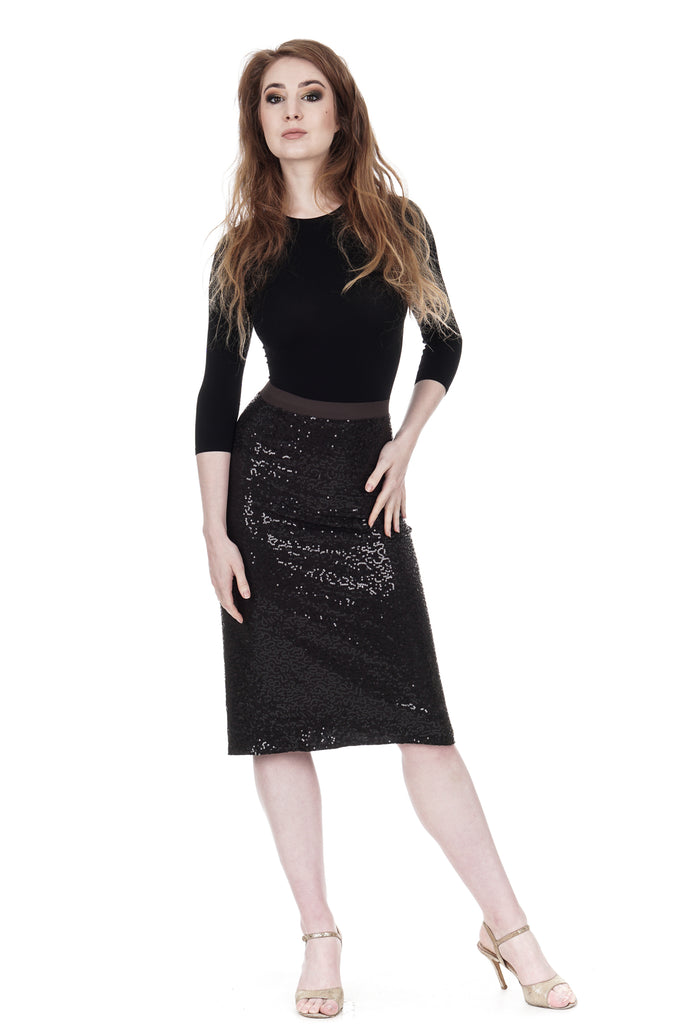inky sequins ruched skirt - Poema Tango Clothes: handmade luxury clothing for Argentine tango
