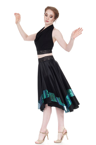 inky silk & beetle wing skirt