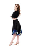 inky silk & cobalt peony circle skirt - Poema Tango Clothes: handmade luxury clothing for Argentine tango