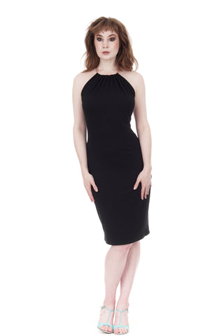 inky tie-neck pencil dress