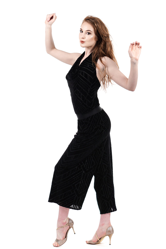 inky velvet burnout romper - Poema Tango Clothes: handmade luxury clothing for Argentine tango