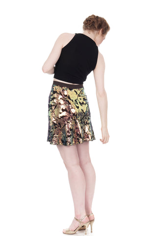 iridescent fishtail short draped skirt