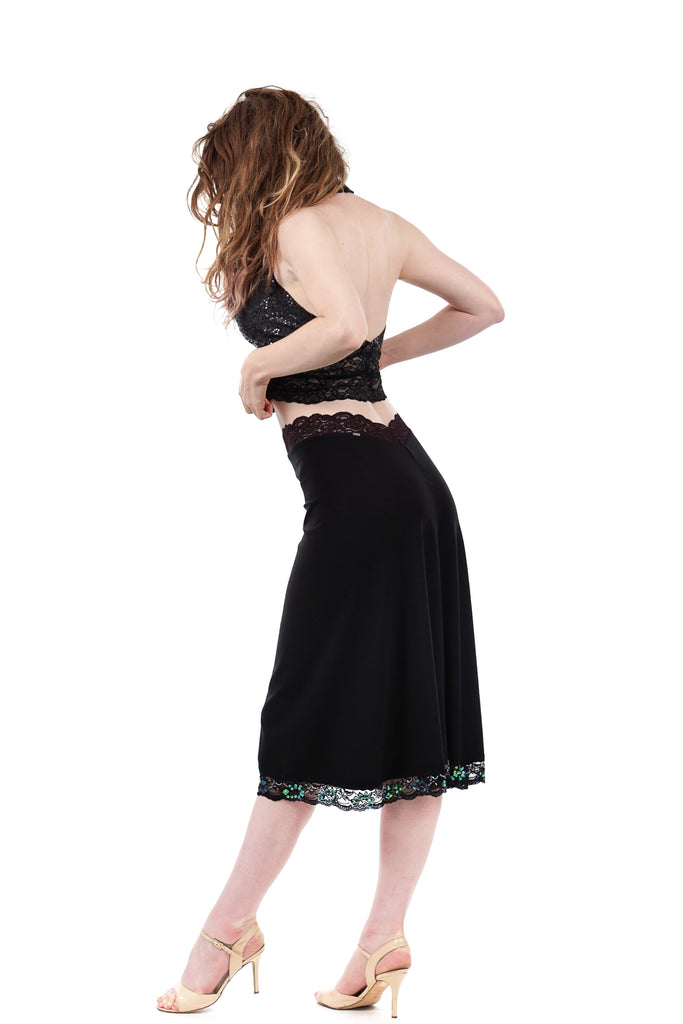 iridescent hem fluted skirt - Poema Tango Clothes: handmade luxury clothing for Argentine tango